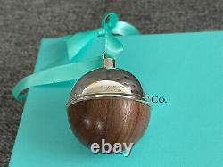 Tiffany & Co Silver 5 Round WALNUT Wood BALL Ornament NEW IN BOX + Pouch