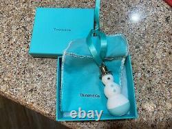 Tiffany & Co Snowman Ornament Silver Hat White Blue Bone China Christmas