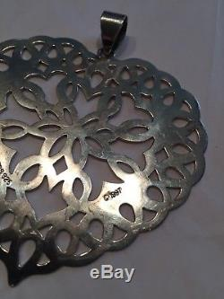 Tiffany & Co Sterling Silver Snowflake Heart Christmas Ornament 3 23.3g
