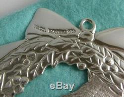 Tiffany & Co Sterling Silver Teddy Bear Ivy Wreath Christmas Bow Ornament