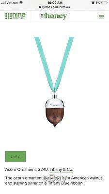 Tiffany & Co Sterling Silver and American Walnut Acorn Christmas Ornament $240