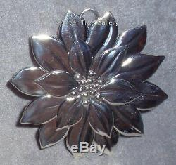 Tiffany Solid Sterling Silver Poinsettia Christmas Ornament Pendant Decoration