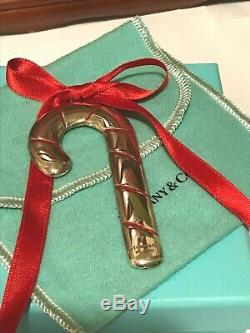 Tiffany Sterling 925 Enamel with Red Ribbon Candy Cane Christmas Ornament
