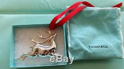 Tiffany Sterling Silver Reindeer Christmas Ornament with pouch and box