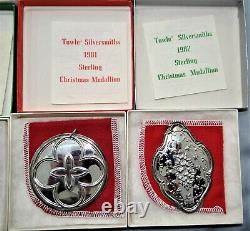 Towle 12 Days Of Christmas Medallion Ornament Sterling Silver Complete Set 1971