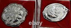 Towle Christmas Floral Medallion Ornament Sterling Silver Complete Set 1983-1992