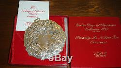 Towle Sterling Silver 1991 Wreath-1st Ed. Partridge in a Pear Tree Ornament