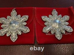 Two Wallace Silversmiths 2000 Grande Baroque Sterling Silver Snowflake Ornament