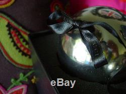 Ultra RARE Vintage GUCCI Christmas Holiday Silver Blown Glass Ornaments /Box GG