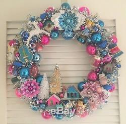 VINTAGE CHRISTMAS ORNAMENT WREATH Angels Trees mercury glass blue/pink/silver