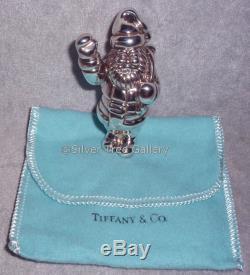 VNC Tiffany 1993 Sterling Silver 3D Waving Santa Christmas Ornament Decoration