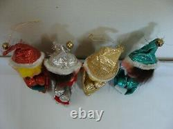VTG Shiny Brite Pixie Elf Knee Hugger Ornament Figurine Silver Gold Metallic Lot