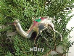 Vintage 20's Bimini German Blown SILVER / MERCURY Art Glass CAMEL Ornament