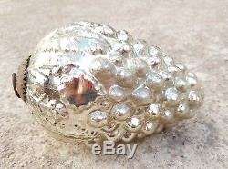 Vintage 6.25 Silver Glass Cluster Of Grapes Shape Christmas Ornament, France