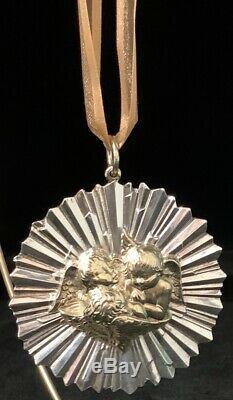 Vintage Buccellati Sterling Silver Christmas Ornament 1992 #026 Vermeil Cherubs