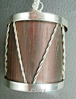 Vintage Cartier Sterling Silver + Wood Drum Christmas Ornament + Pouch + Box