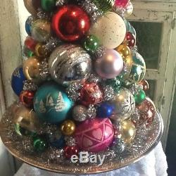 Vintage Christmas Centerpiece tabletop ornaments silver topiary decoration tree