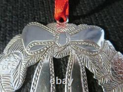 Vintage Circa 1988 Signed TIFFANY STERLING SILVER CHRISTMAS WREATH ORNAMENT