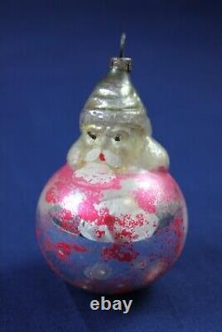 Vintage Glass Christmas Ornament SANTA ON A BALL German Figural Decoration Pink