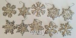 Vintage Lot 10 GORHAM STERLING SILVER Snowflake Christmas Ornaments 1970-78 bags