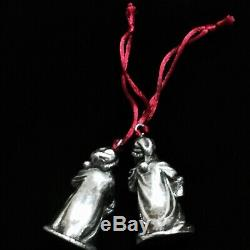 Vintage Lot of 2 Different Santa Claus Sterling Silver Christmas Tree Ornaments
