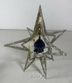 Vintage Merry Glow Round Christmas NOT Rotating Ornament Tree Topper Silver Blue