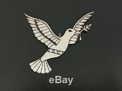 Vintage Michael Tahe Navajo Christmas Sterling Silver Dove Bird Decor Ornament