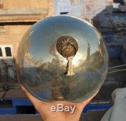 Vintage Old Antique Rare Big Round Silver Glass Fine Christmas Kugel / Ornament