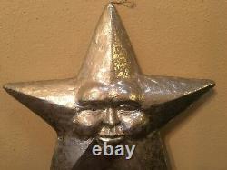Vintage Paper Mache Star Sun Face Silver Huge 22 1/2 Wall Hanger Ornament