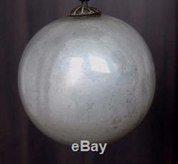 Vintage Silver Christmas Kugel / Ornament 4 Original Heavy Glass & Hook #0069
