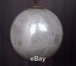 Vintage Silver Christmas Kugel / Ornament 4 Original Heavy Glass & Hook #0070