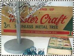 Vintage Silver Christmas Tree Master Craft 3' + Color Wheel + Ornaments + Boxes