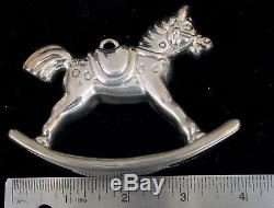 Vintage Tiffany & Co Sterling Silver 3-d Rocking Horse Christmas Ornament 925