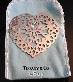 Vintage Tiffany & Co Sterling Silver Heart Snowflake Christmas Ornament Box 1997