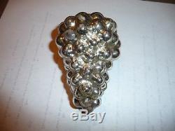 Vintage authentic Kugel Silver Grape Cluster Christmas Ornament Brass cap