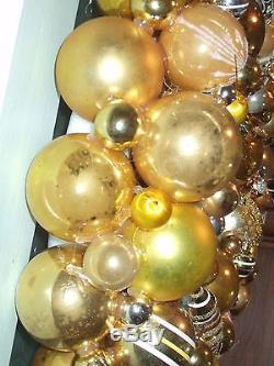 Vintage handmade christmas ornament wreath gold silver 17.5 glass holiday decor