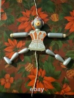 Vtg 1962 Hand Painted Wood Pull String Toy Space Robot, Astronaut Xmas Ornament