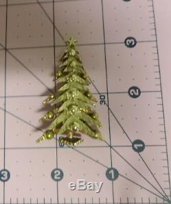 Vtg Signed ART Christmas Tree Silver Gold Tone Ornaments Pin Brooch Hard to Find