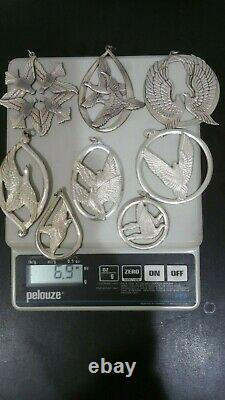 Wallace Sterling Silver Dove Christmas Ornaments 1971-78 Set