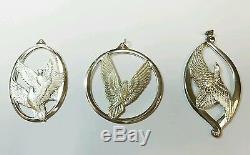 Wallace Sterling Silver Set Of 3 Peace On Earth Dove Christmas Ornaments